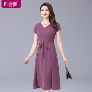 夏季时尚过膝连衣裙夏中年妈妈高贵减龄优雅收腰显瘦气质夏装裙子