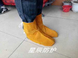 焊工脚套电焊护脚护腿 高帮牛皮劳保鞋套鞋盖耐脏帆布套脚盖包邮