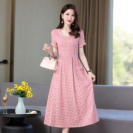 2021新款棉麻连衣裙夏天薄款大码女装甜美宽松妈妈气质印花长裙子