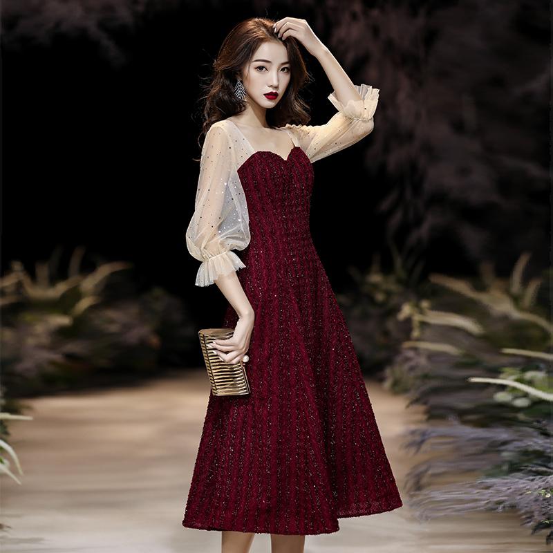 宴会晚礼服女2019新款年会连衣裙气质主持红色小礼服平时可穿短款
