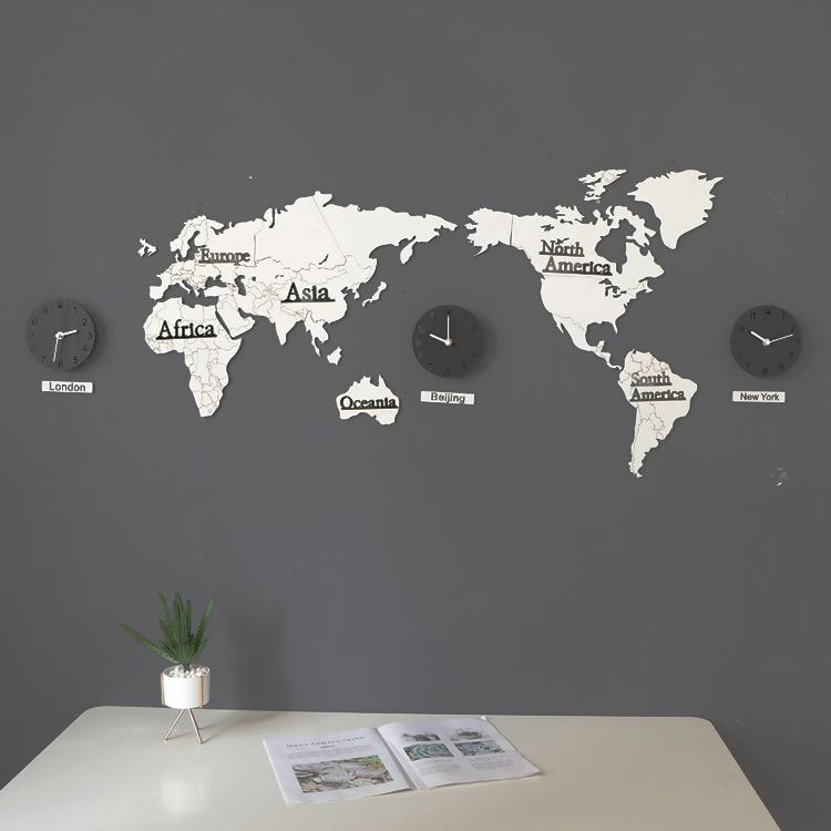 リビング装飾3 d世界地図掛け時計実木現代北欧壁面個性インテリアデザイナーのオススメ