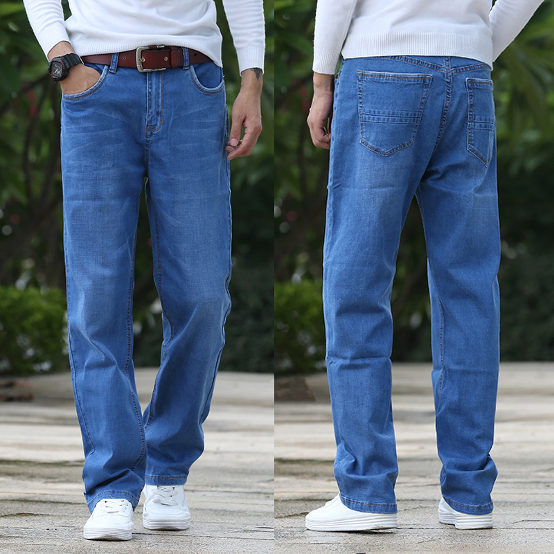 Ultra thin high elastic young and middle-aged mens jeans baggy pants plus fat plus large leg elastic wide leg pants