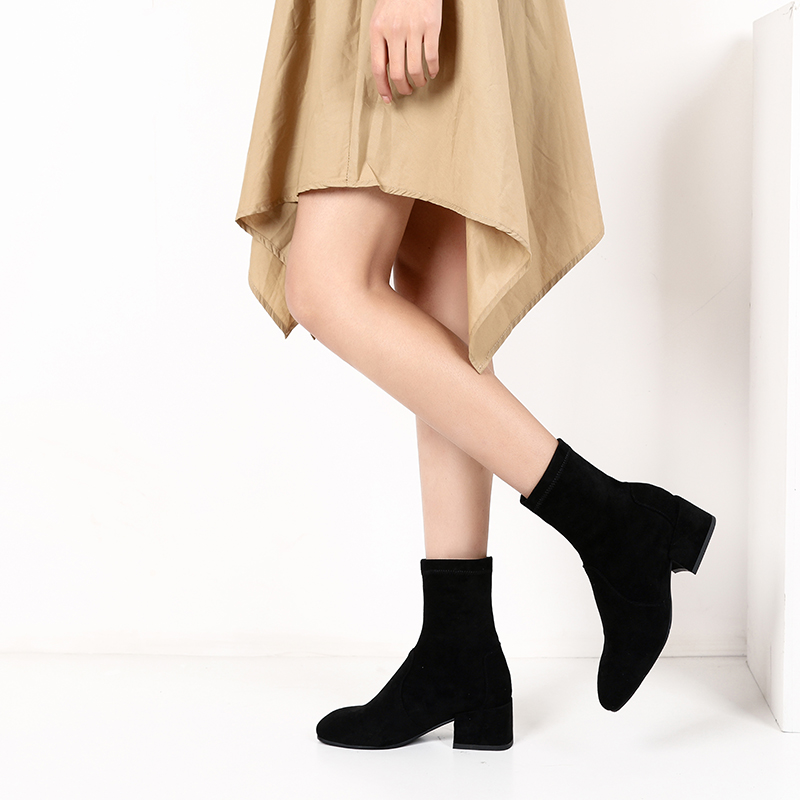 Xiangshiting new autumn and winter small heel short boots womens thick heel Martin boots elastic boots medium tube thin solid color Europe and America