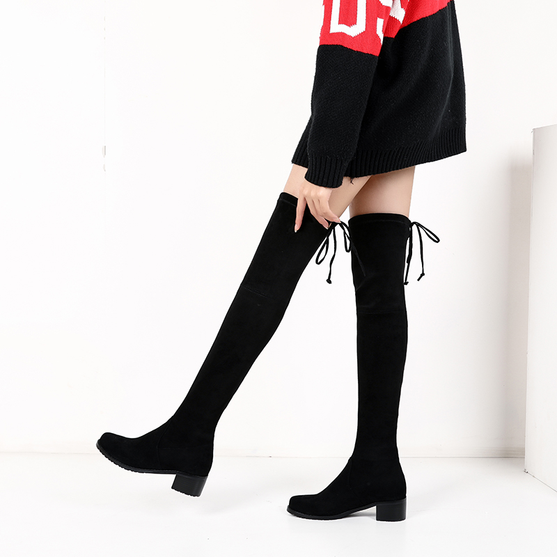 Xiang shiting autumn / winter 2018 long boots womens knee high boots low heel elastic boots high boots