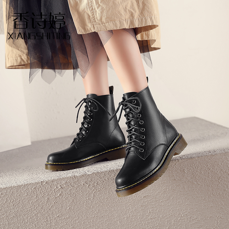 Xiangshiting front lace up short boots autumn and winter casual black leather boots womens boots Plush winter boots leather single boots