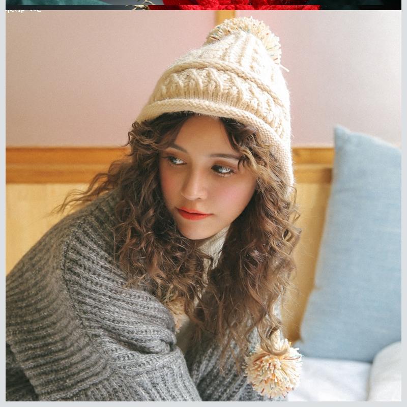 邪恶先生帽子铺邪恶先生可爱韩版加绒针织雷锋帽子女冬护耳毛球帽