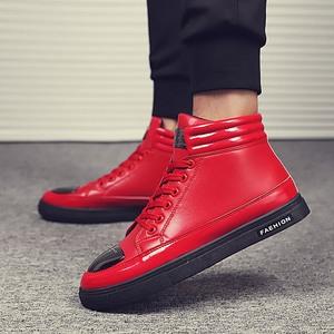 秋冬季时尚男鞋透气运动鞋男士休闲鞋新款高帮平底舒适耐磨板鞋