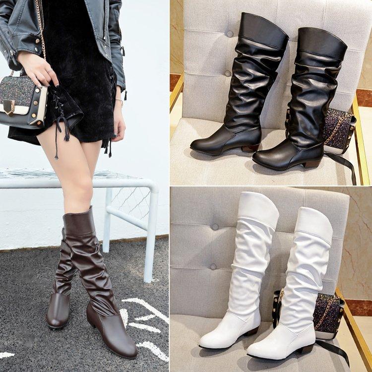 高筒靴平跟白色靴子女春秋款长靴冬平底学生单靴女鞋子cosplay黑