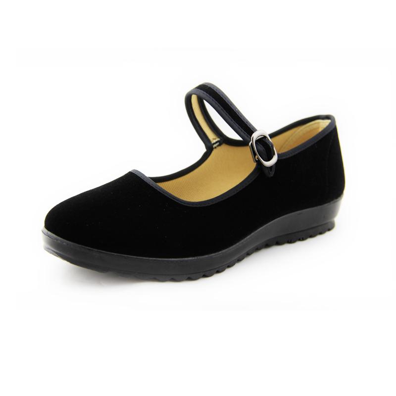 老北京布鞋女 正品酒店工作上班鞋女平底黑色服務員餐廳 鞋