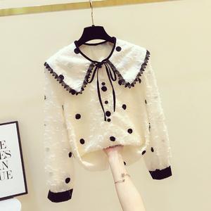 韩版毛毛波点翻领雪纺衬衫清新甜美系带娃娃领长袖撞色复古上衣潮