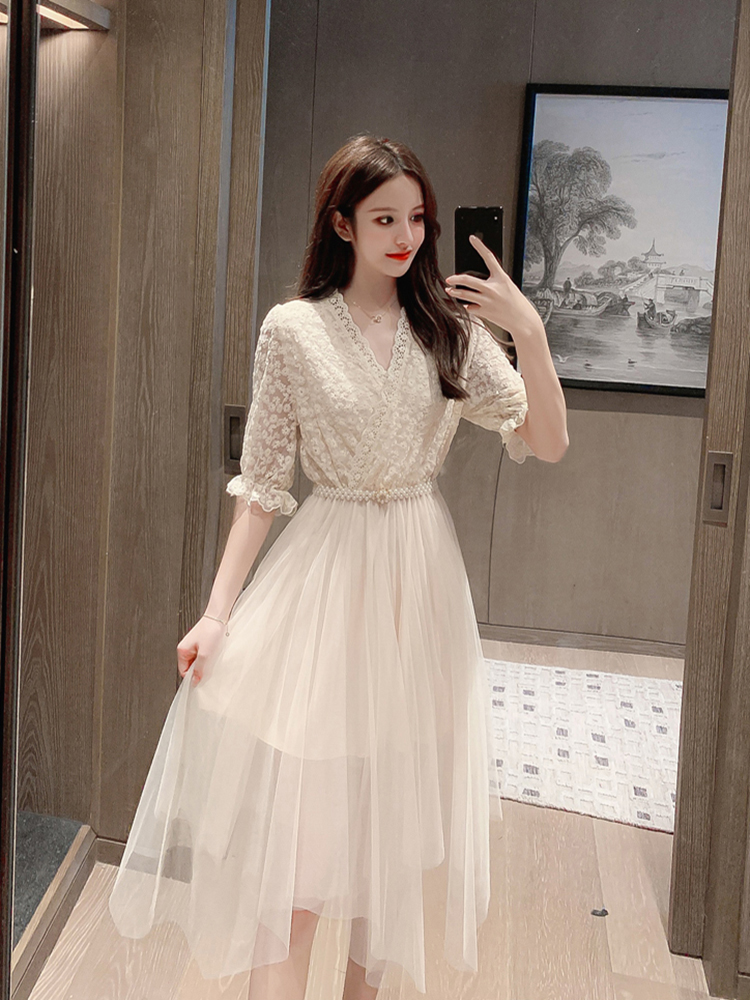 [4.30 popular recommendation] 2020 new sequined embroidered mesh dress