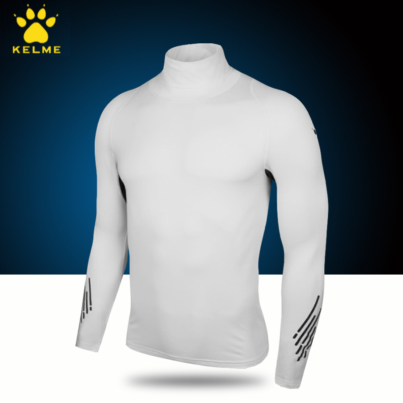 2018 kalmyr sport Plush bodysuit high neck thick long sleeve fitness suit football sports bottoming elastic shirt
