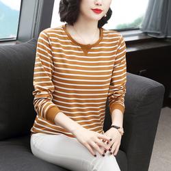 唯品会特卖t恤女长袖专柜正品牌折扣店女装条纹汗衫长袖纯棉上衣