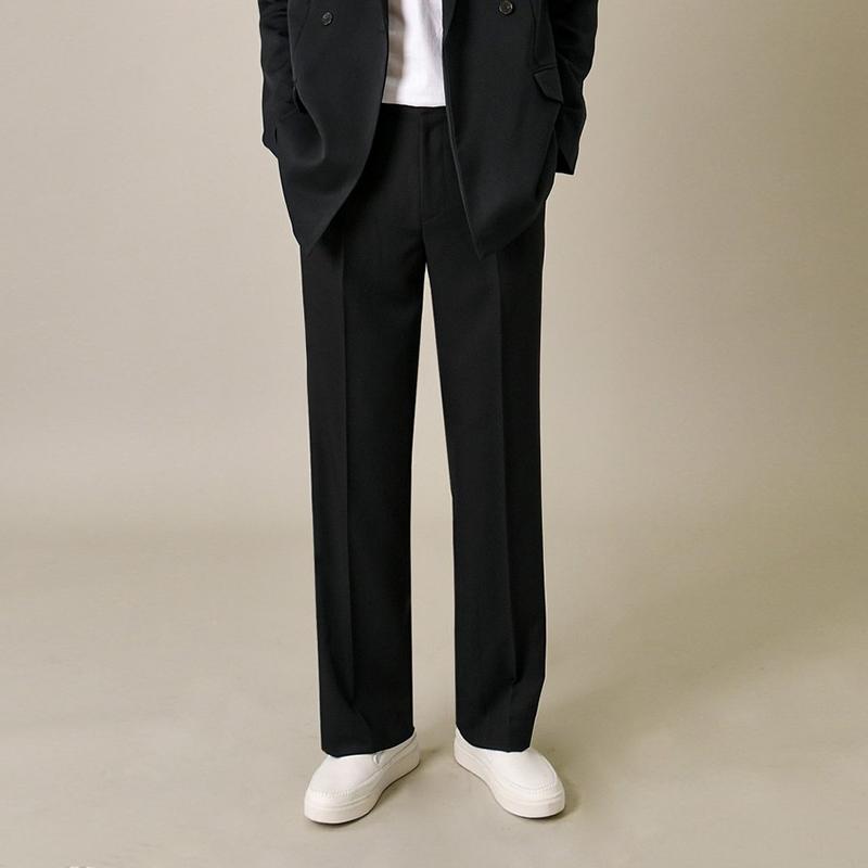 休闲裤男宽松西装裤坠感垂感冰丝阔腿裤夏款直筒长裤男九分韩版潮