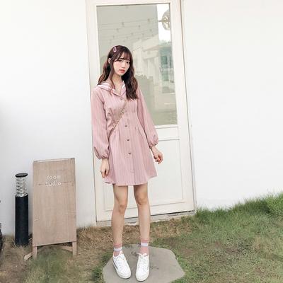 秋装2019年新款少女韩版洋气学院风减龄可爱海军领长袖连衣裙子