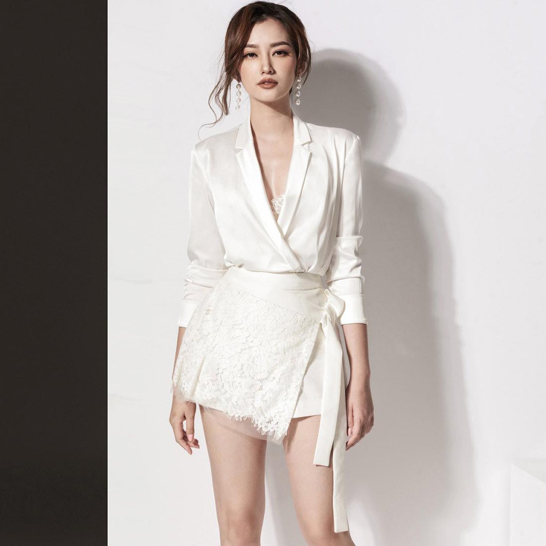 新款欧美时尚绸缎面性感翻领系带收腰修身显瘦套装裙