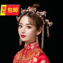 结婚红色9古代凤冠新娘大气秀禾头饰显脸小中式简约民族风步摇发
