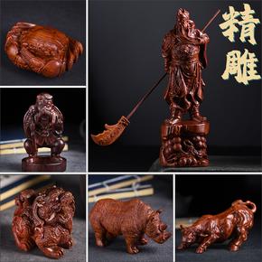 非洲紫檀血檀木雕十二生肖关公红木立貔貅雕刻摆件根雕工艺品