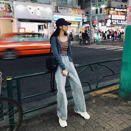 夏季阔腿裤女高腰牛仔图片
