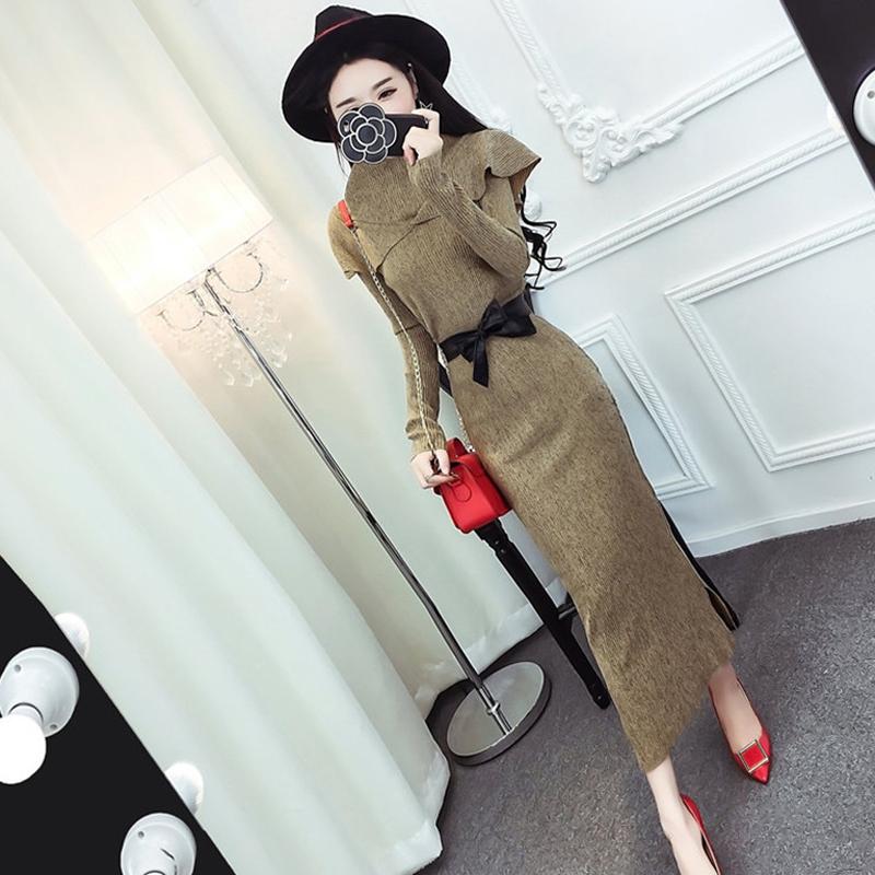 网红两件套装秋冬女装韩版荷叶边立领长袖上衣系带高腰包臀半身裙