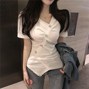 2019夏季新款韩版v领褶皱不规则修身显瘦短袖t恤女装心机收腰上衣