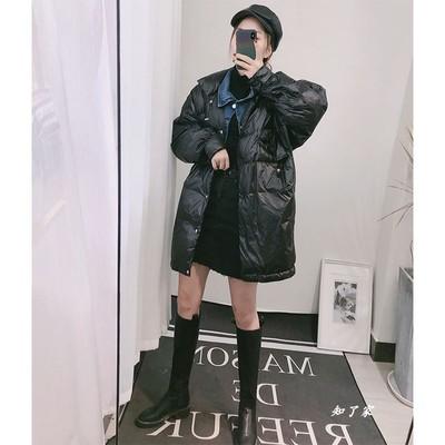 2019新款新款欧洲站牛仔拼接假两件羽绒服女中长款韩版网红外套潮