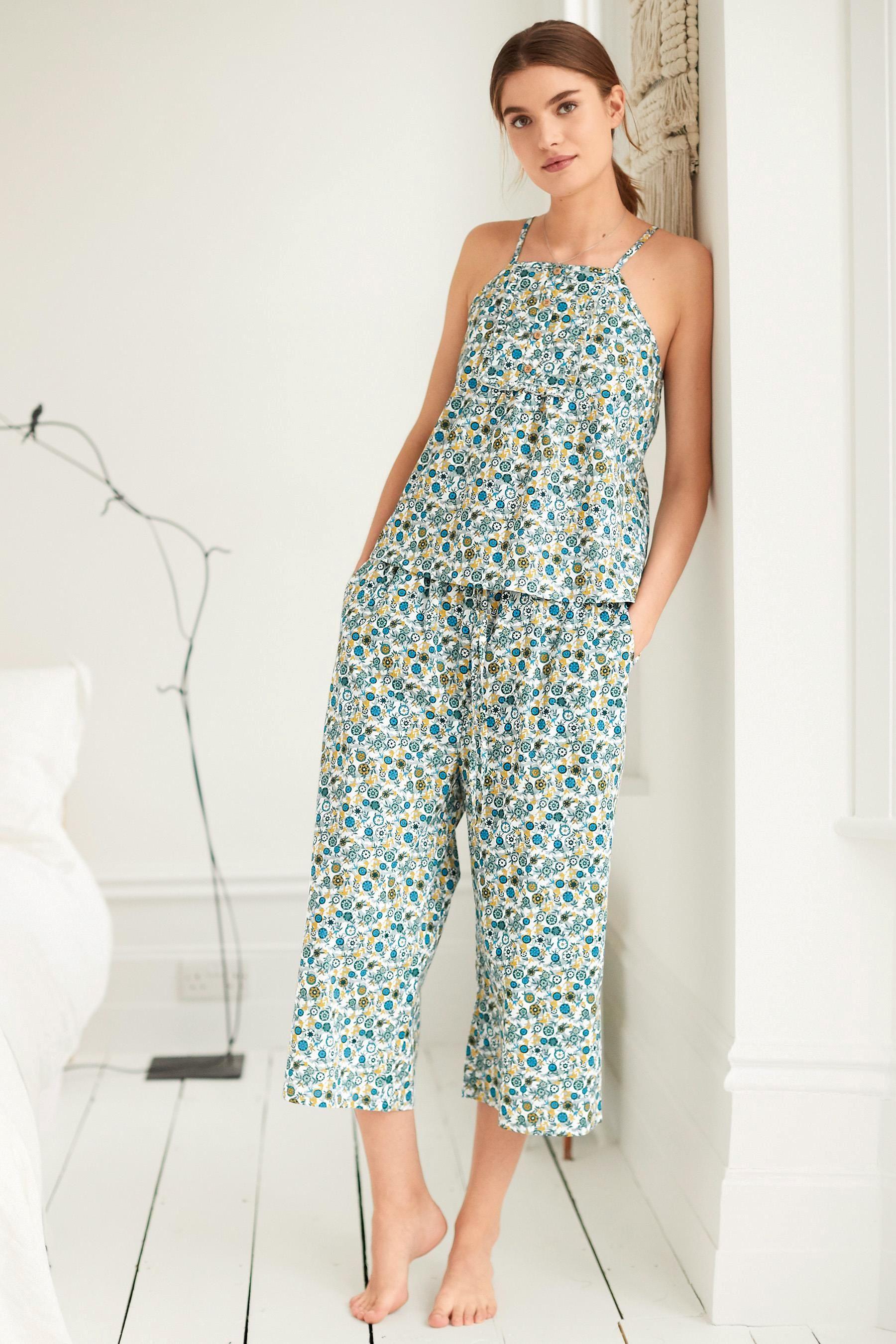 英国订购NEXT女装正品 女士女生绿色碎花编织细肩带睡衣+长裤套装