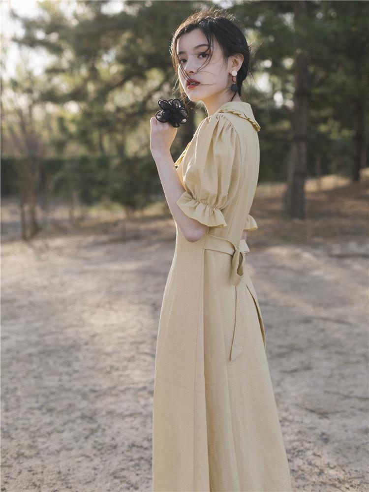 法式复古裙收腰桔梗山本过膝很仙流行的法国小众衬衫连衣裙女学生128.00元包邮