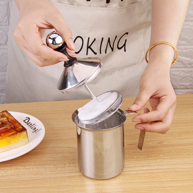 不锈钢双层打奶泡器 厨房手动打奶器 牛奶打泡器  奶泡杯