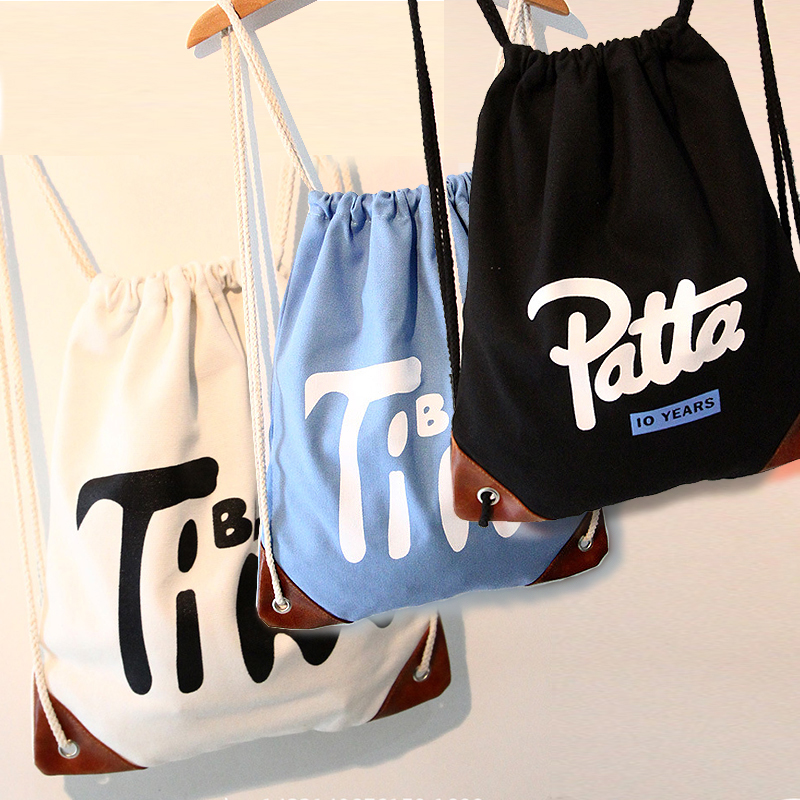 Fashion new style Drawstring Backpack Korean binding mouth canvas bag simple backpack student schoolbag custom printed logo