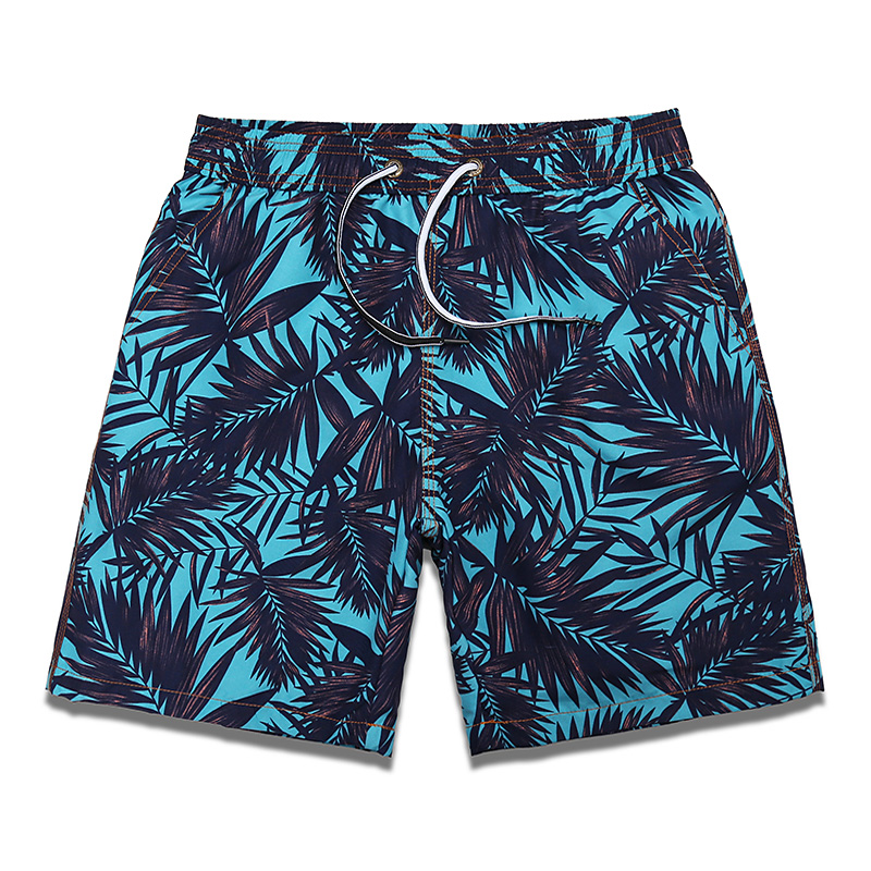 Beach pants mens seaside holiday quick drying Shorts Large Print 5-point underpants with inner lining hot spring swimming trunks