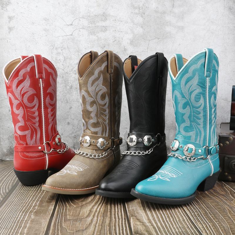 新款西部牛仔靴时尚百搭复古机车靴