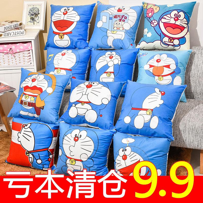 可爱卡通少女心叮当猫哆啦a梦蓝胖子抱枕套沙发靠枕靠垫床上枕头