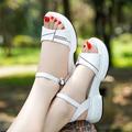 回力凉鞋女2021夏季新款坡跟松糕厚底休闲舒适百搭中跟一字扣凉鞋