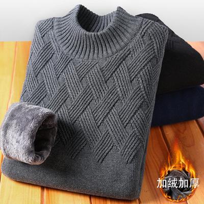 慵懒风半高领毛衣男韩版冬季加绒加厚针织衫男士中领保暖打底线衣