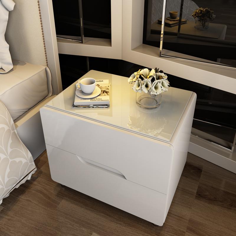 床頭櫃簡約現代迷你卧室簡易白色烤漆床頭櫃歐式組裝儲物收納邊櫃
