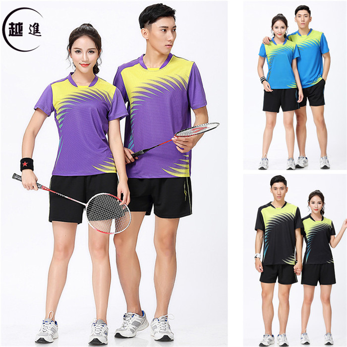 羽毛套装男女夏季短袖T恤速干吸汗修身翻领运动服装乒乓球服紫色