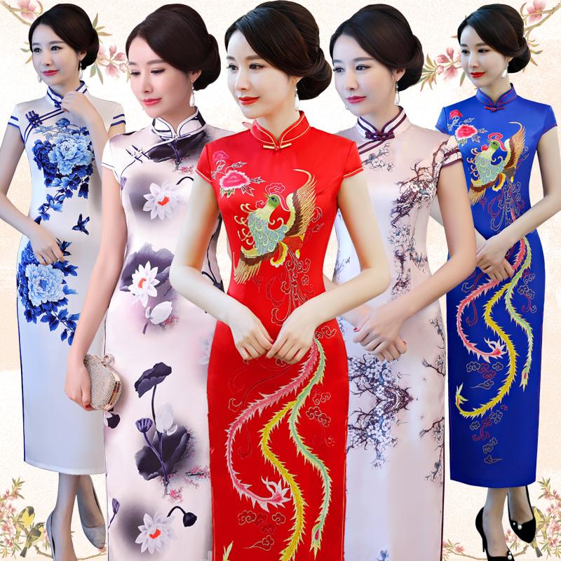 老上海旗袍2018新款改良修身复古中国风端庄大气长款旗袍连衣裙