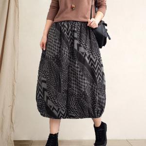 冬季新款复古文艺夹棉半身裙加厚印花松紧腰保暖棉裙中长款女