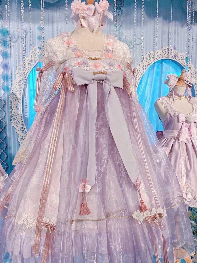 baby天国少女Team Timeラベンダー紫桜茶lolitaワンピースワンピース
