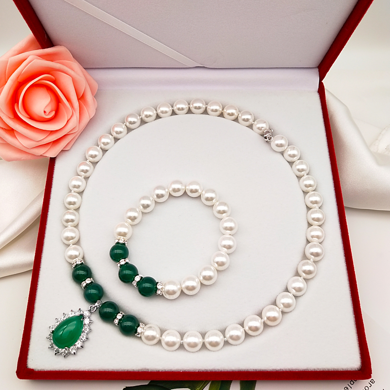 Round shell pearl necklace Agate Pendant mother Chain Gift Bracelet Gift Box