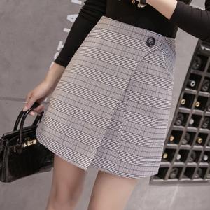 实拍2018春季新款韩版高腰格子半身裙女宽松显瘦a字裙包臀裙子潮