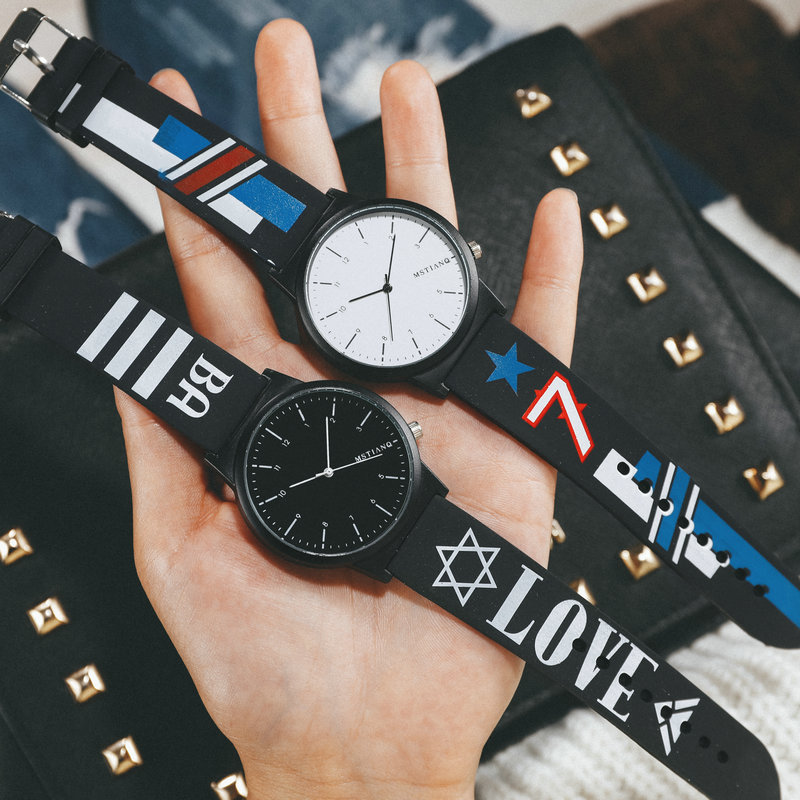 Fashion watch hip hop mens and womens fashion European and American individuality Street original lodging style Korean version leisure simple silicon tape couple table