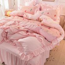 网红少女心公主风四件套韩版床裙式加厚磨毛全棉床罩被套床上用品