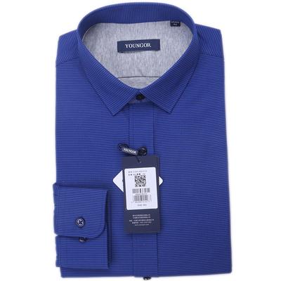 雅戈尔长袖衬衫男青年秋冬装深色新加厚保暖藏青商务方领正装包邮