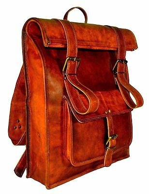 Hand made leather bag mens brown red leather retro Laptop Backpack Messenger Shoulder Strap
