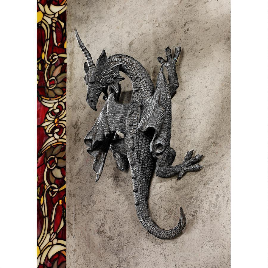 Buy wall sculpture decoration exterior ferocious wall sculpture Horned Dragon Devonshire Gothic basaltic stone