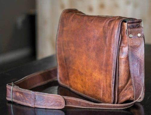Hand made leather bag Retro Leather Hand Made Brown laptop bag straddle Messenger Bag Fashion