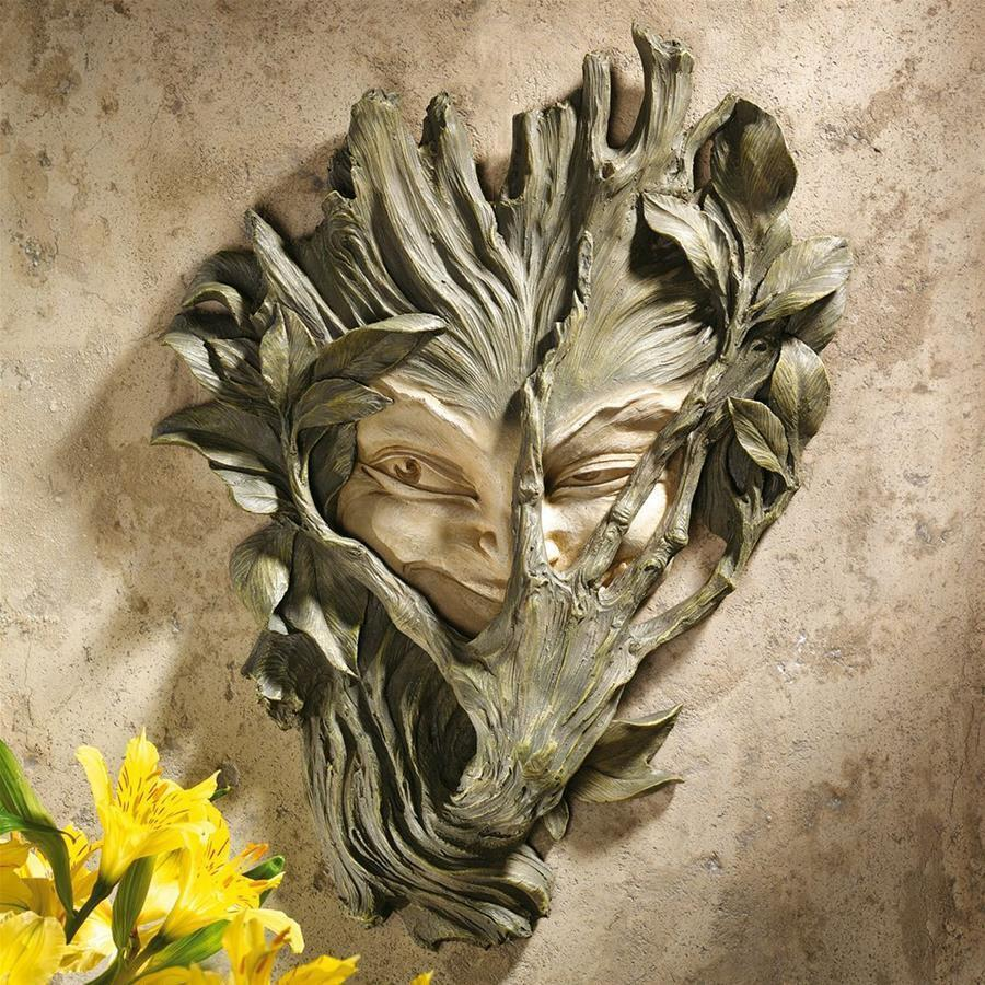 Buy wall sculpture to decorate the shy wood elf greenwoman Gothic hand painted resin interior
