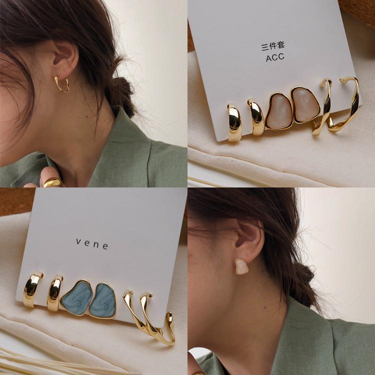 3对耳环套装组合2019新款潮冷淡风耳钉女气质925银针简约耳饰品